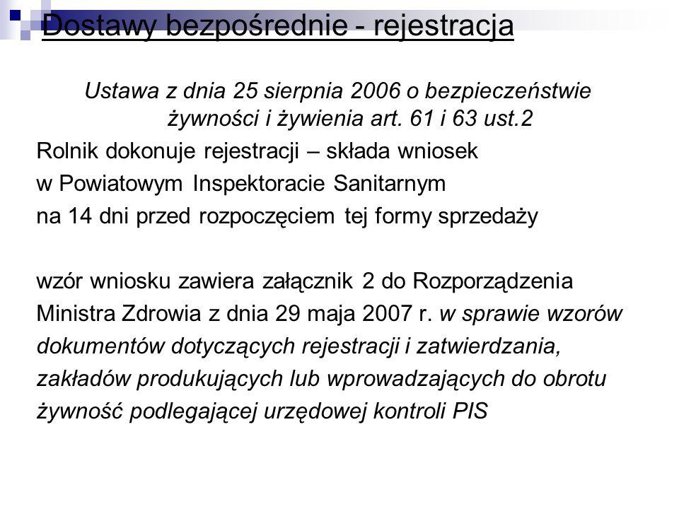 Dostawy bezpośrednie - rejestracja