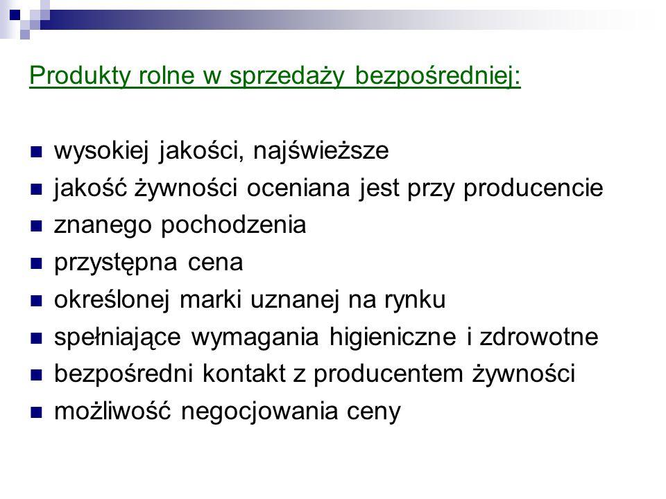 Produkty rolne w sprzedaży bezpośredniej:
