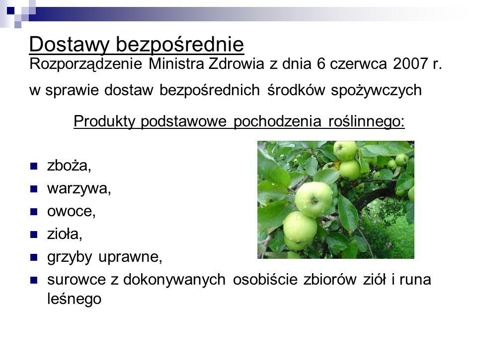 Produkty podstawowe pochodzenia roślinnego: