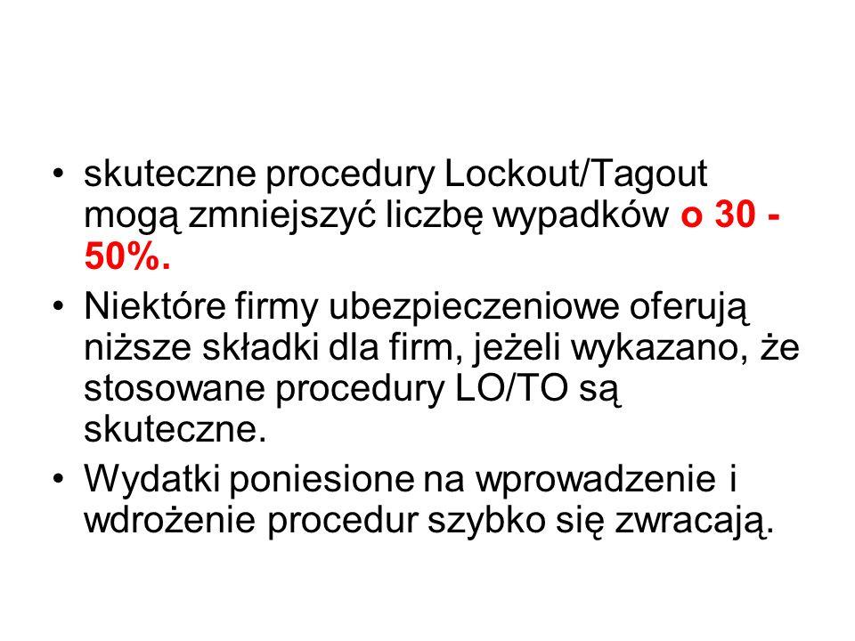skuteczne procedury Lockout/Tagout mogą zmniejszyć liczbę wypadków o 30 - 50%.