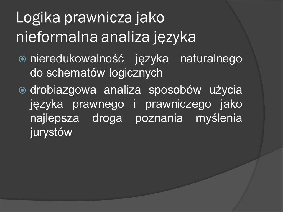 Logika prawnicza jako nieformalna analiza języka