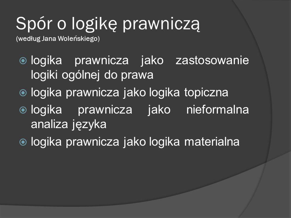 Spór o logikę prawniczą (według Jana Woleńskiego)