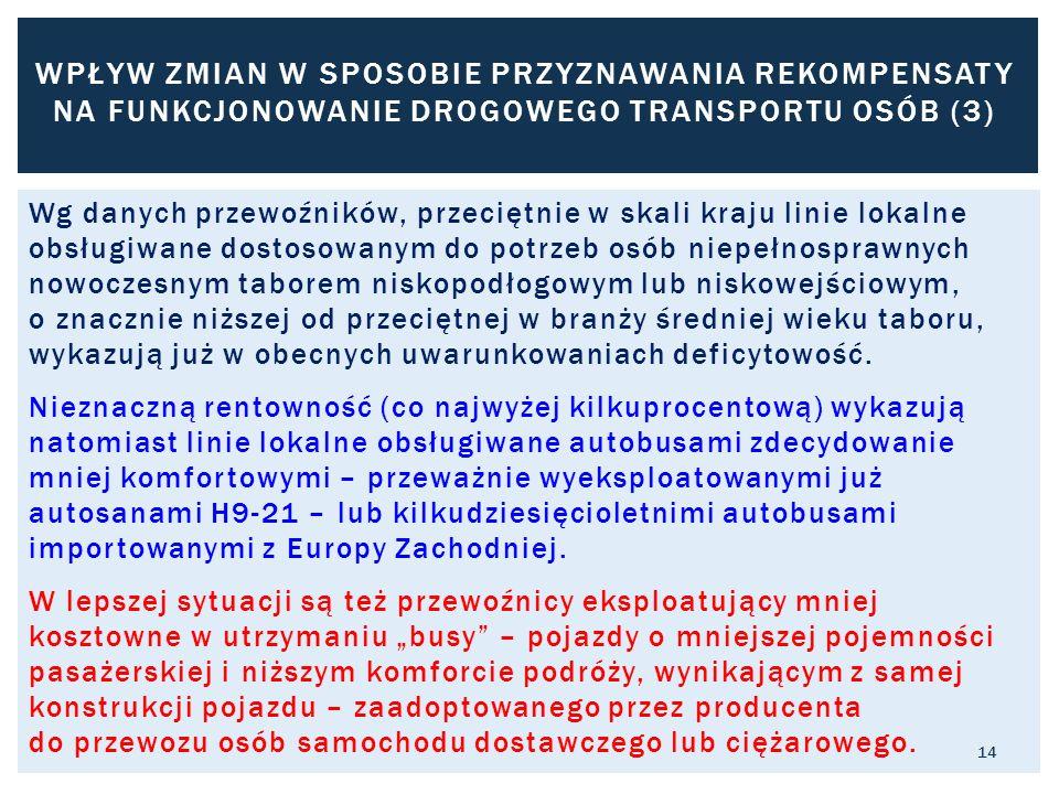 WPŁYW ZMIAN W SPOSOBIE PRZYZNAWANIA REKOMPENSATY NA FUNKCJONOWANIE DROGOWEGO TRANSPORTU OSÓB (3)