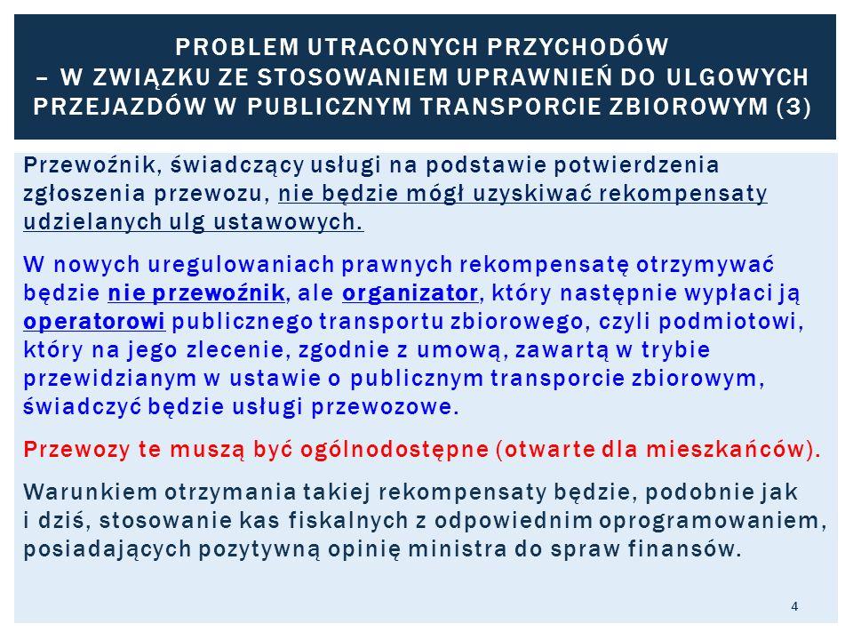 Problem utraconych przychodów – w związku ze stosowaniem uprawnień do ulgowych przejazdów w publicznym transporcie zbiorowym (3)