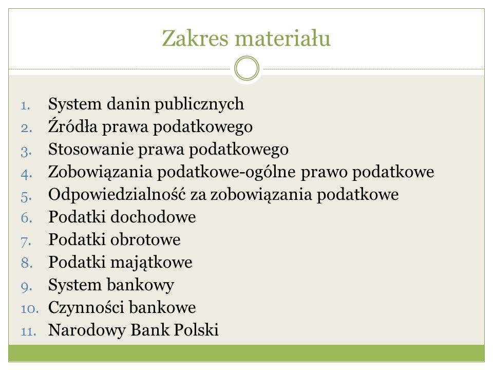 Zakres materiału System danin publicznych Źródła prawa podatkowego