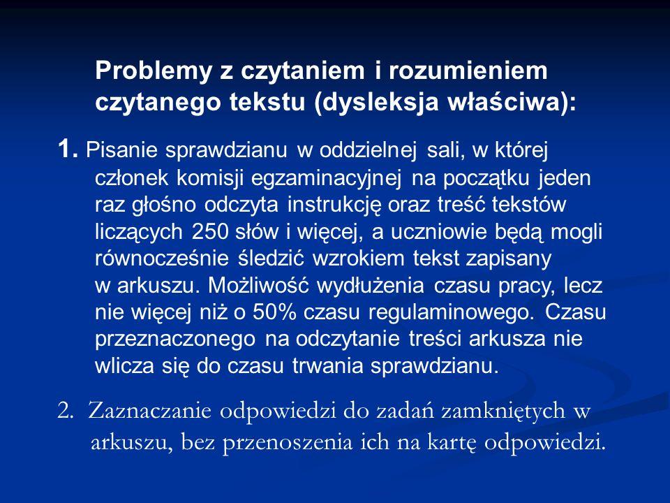 Problemy z czytaniem i rozumieniem czytanego tekstu (dysleksja właściwa):