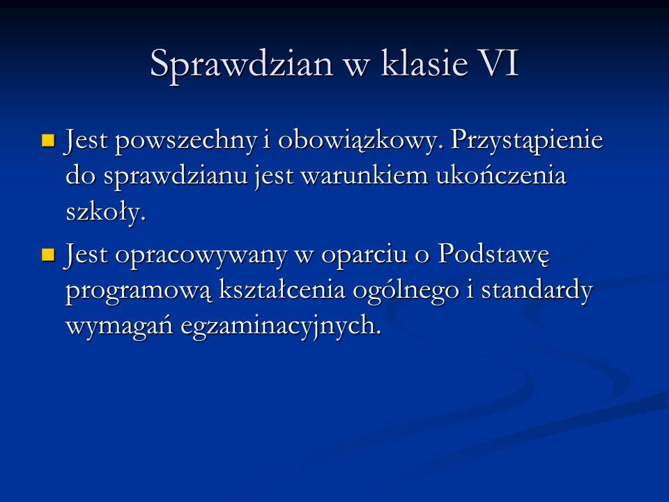 Sprawdzian w klasie VI Jest powszechny i obowiązkowy. Przystąpienie do sprawdzianu jest warunkiem ukończenia szkoły.