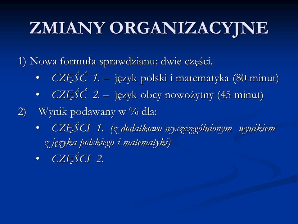 ZMIANY ORGANIZACYJNE 1) Nowa formuła sprawdzianu: dwie części.