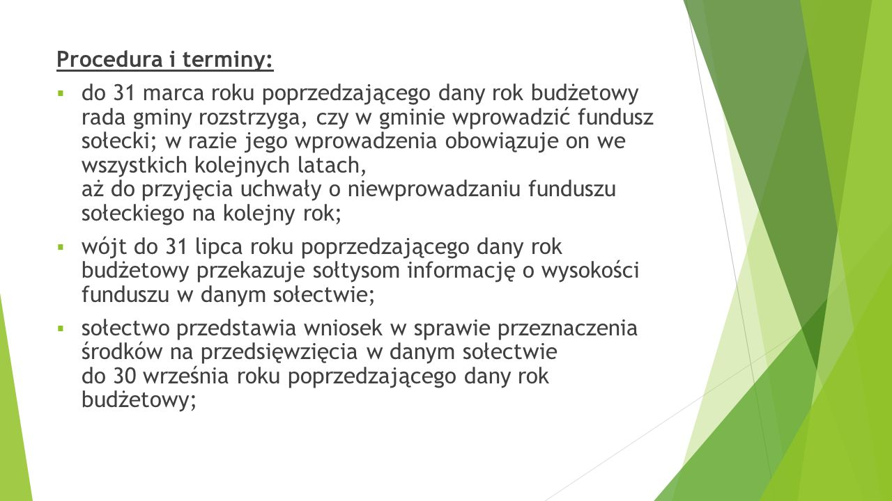 Procedura i terminy: