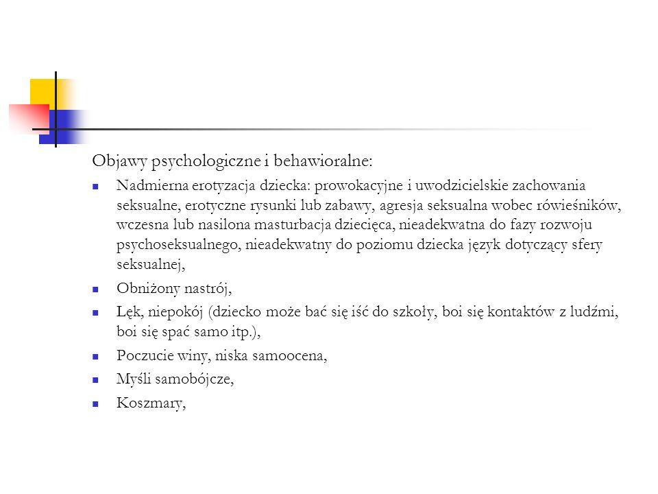 Objawy psychologiczne i behawioralne: