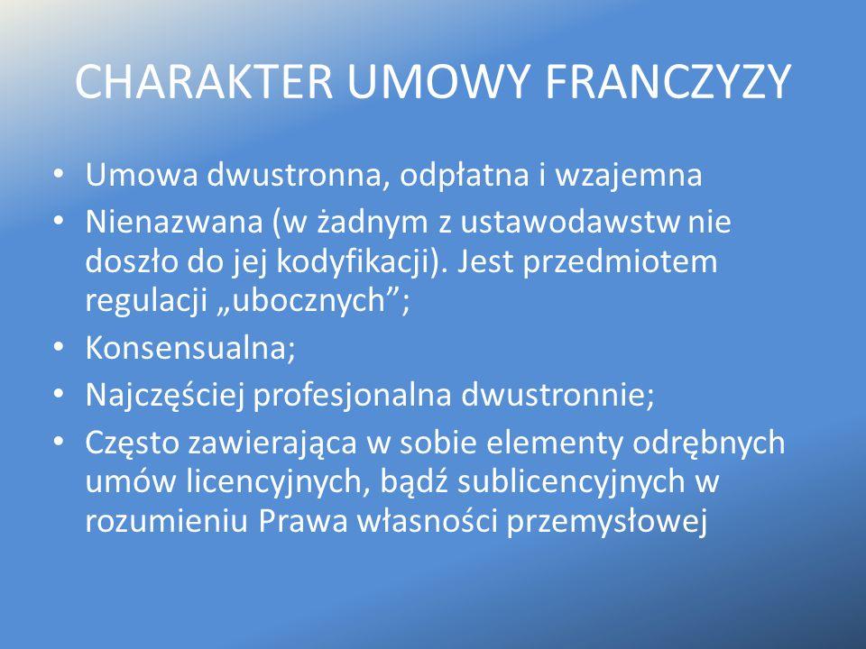 CHARAKTER UMOWY FRANCZYZY