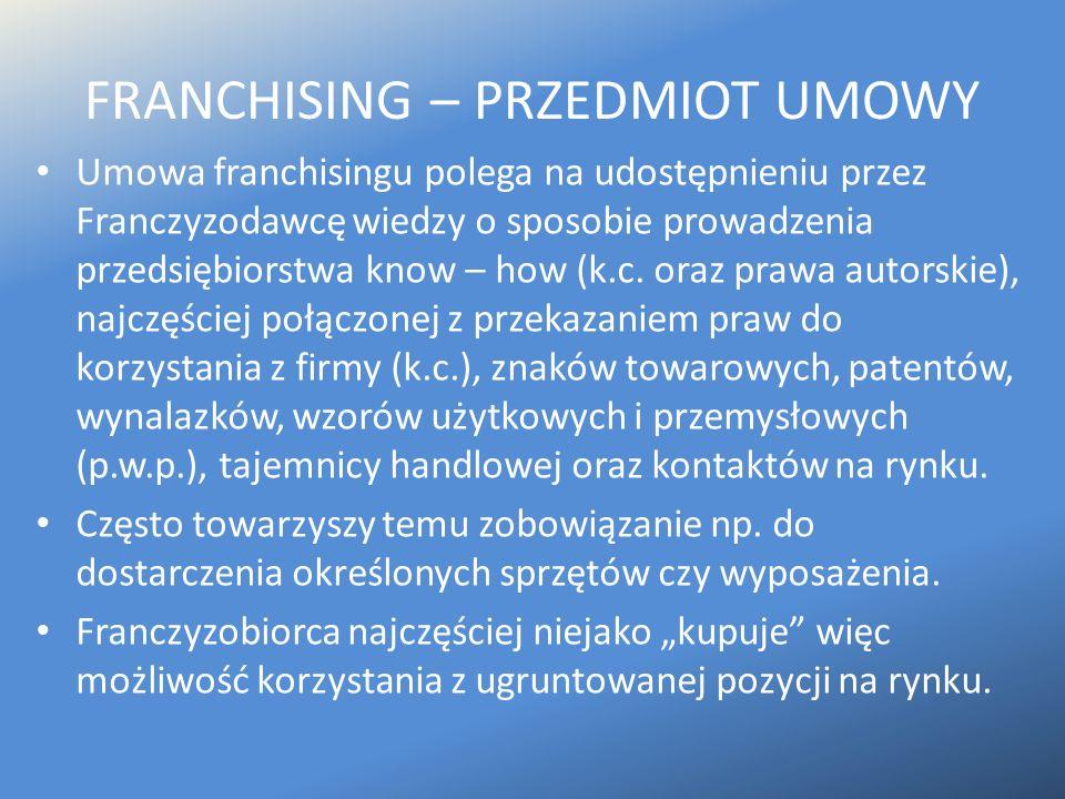FRANCHISING – PRZEDMIOT UMOWY