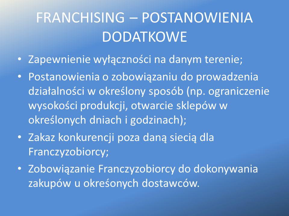FRANCHISING – POSTANOWIENIA DODATKOWE