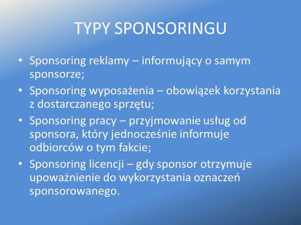TYPY SPONSORINGU Sponsoring reklamy – informujący o samym sponsorze;