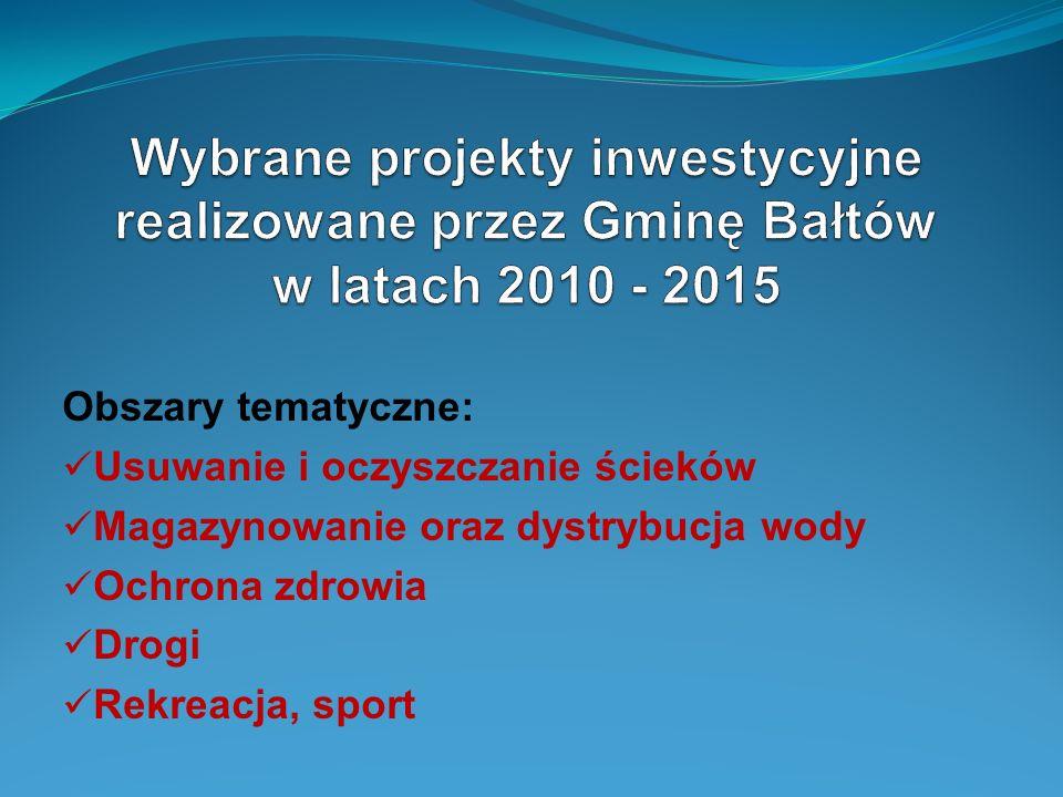 Wybrane projekty inwestycyjne realizowane przez Gminę Bałtów w latach 2010 - 2015
