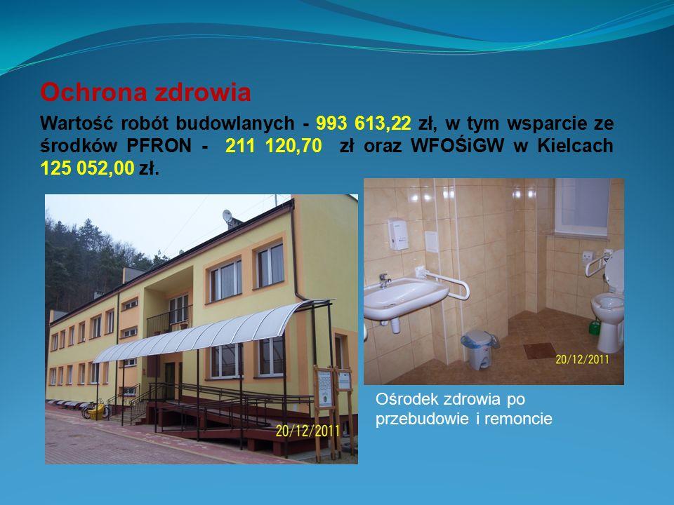 Ochrona zdrowia Wartość robót budowlanych - 993 613,22 zł, w tym wsparcie ze środków PFRON - 211 120,70 zł oraz WFOŚiGW w Kielcach 125 052,00 zł.