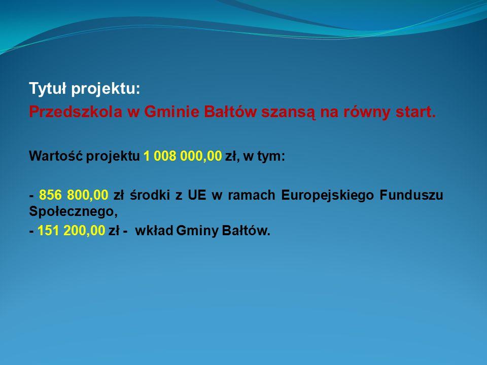 Przedszkola w Gminie Bałtów szansą na równy start.