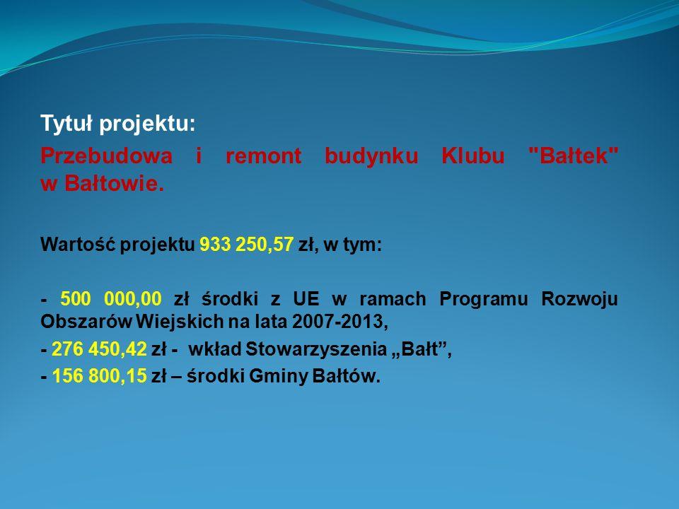 Przebudowa i remont budynku Klubu Bałtek w Bałtowie.