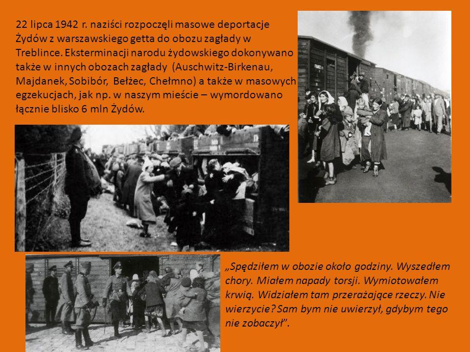 22 lipca 1942 r. naziści rozpoczęli masowe deportacje Żydów z warszawskiego getta do obozu zagłady w Treblince. Eksterminacji narodu żydowskiego dokonywano także w innych obozach zagłady (Auschwitz-Birkenau, Majdanek, Sobibór, Bełżec, Chełmno) a także w masowych egzekucjach, jak np. w naszym mieście – wymordowano łącznie blisko 6 mln Żydów.