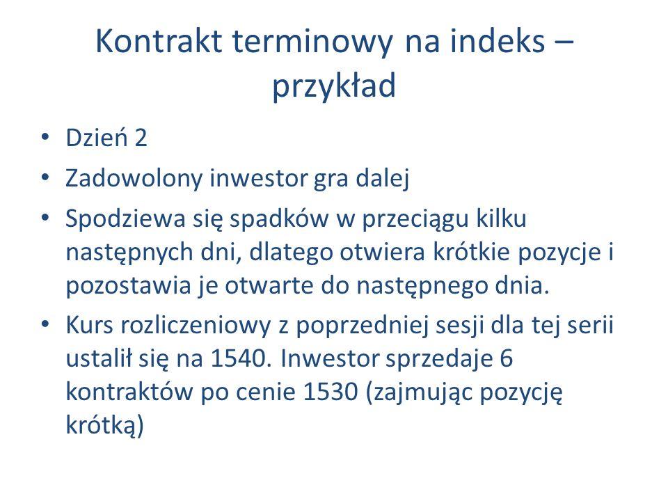 Kontrakt terminowy na indeks – przykład