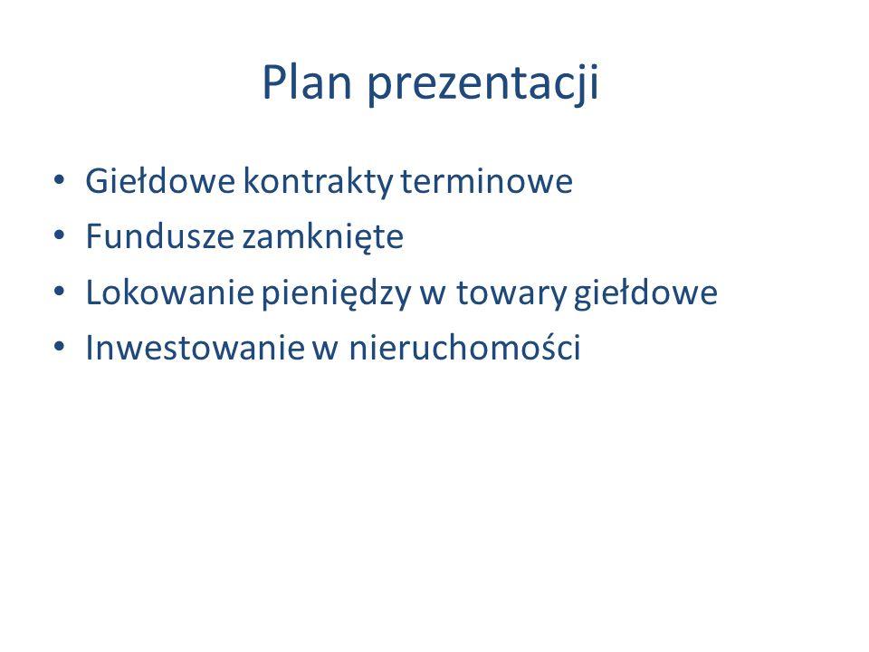 Plan prezentacji Giełdowe kontrakty terminowe Fundusze zamknięte
