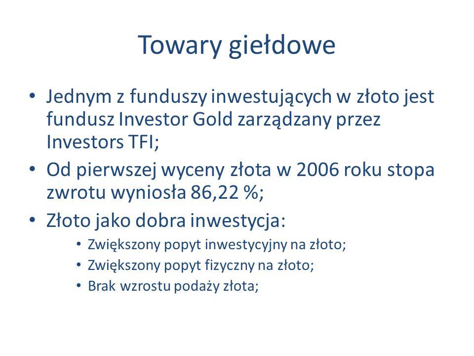 Towary giełdowe Jednym z funduszy inwestujących w złoto jest fundusz Investor Gold zarządzany przez Investors TFI;