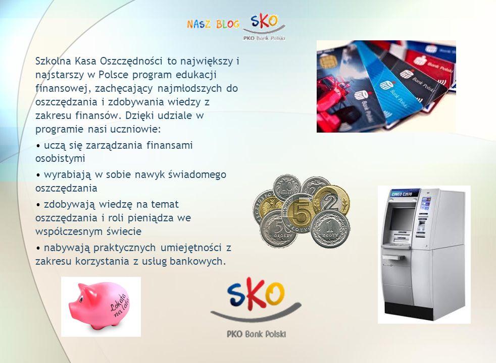 Szkolna Kasa Oszczędności to największy i najstarszy w Polsce program edukacji finansowej, zachęcający najmłodszych do oszczędzania i zdobywania wiedzy z zakresu finansów. Dzięki udziale w programie nasi uczniowie: