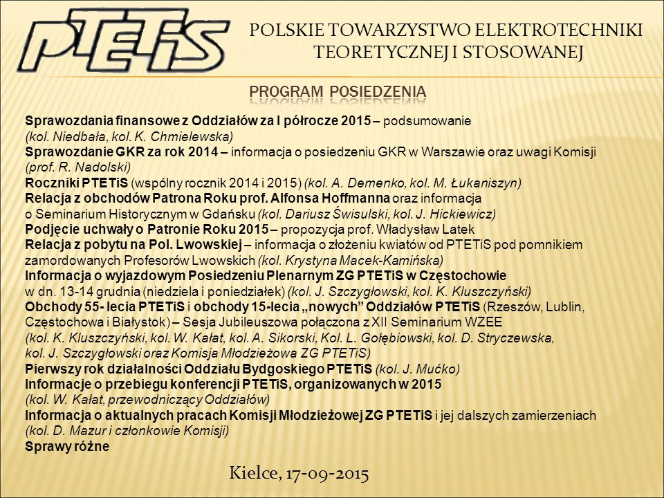 POLSKIE TOWARZYSTWO ELEKTROTECHNIKI TEORETYCZNEJ I STOSOWANEJ