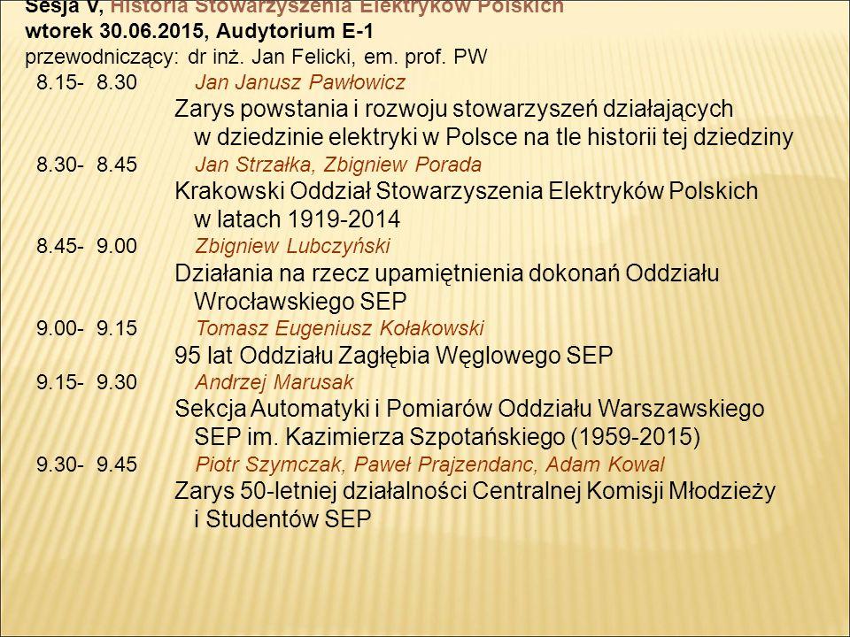 Sesja V, Historia Stowarzyszenia Elektryków Polskich