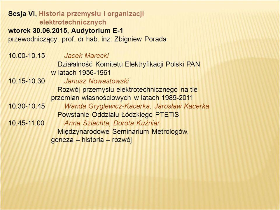 Sesja VI, Historia przemysłu i organizacji elektrotechnicznych