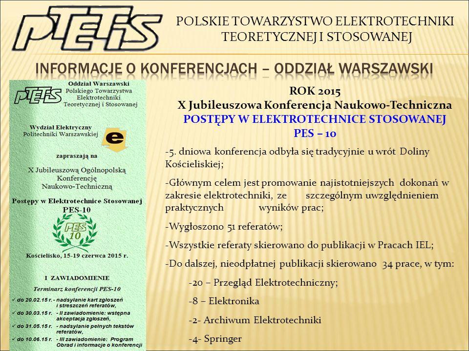 Informacje o konferencjach – oddział warszawski