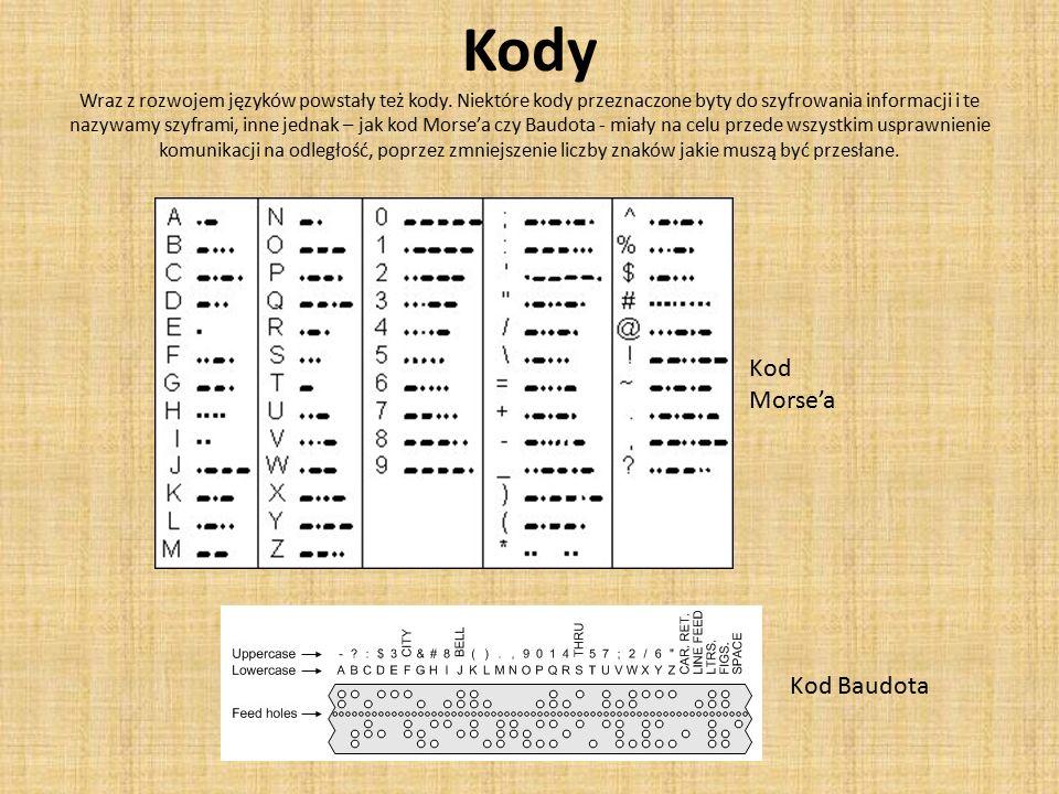 Kody Wraz z rozwojem języków powstały też kody