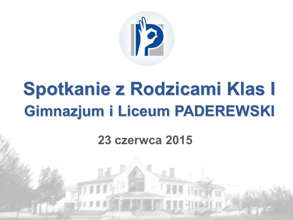 Spotkanie z Rodzicami Klas I Gimnazjum i Liceum PADEREWSKI