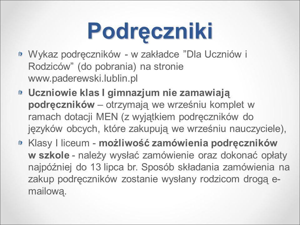 Podręczniki Wykaz podręczników - w zakładce Dla Uczniów i Rodziców (do pobrania) na stronie www.paderewski.lublin.pl.
