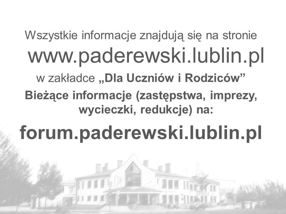 Bieżące informacje (zastępstwa, imprezy, wycieczki, redukcje) na: