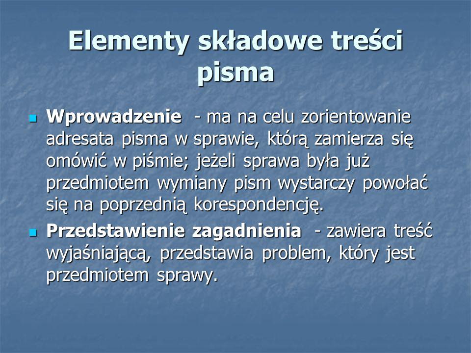 Elementy składowe treści pisma