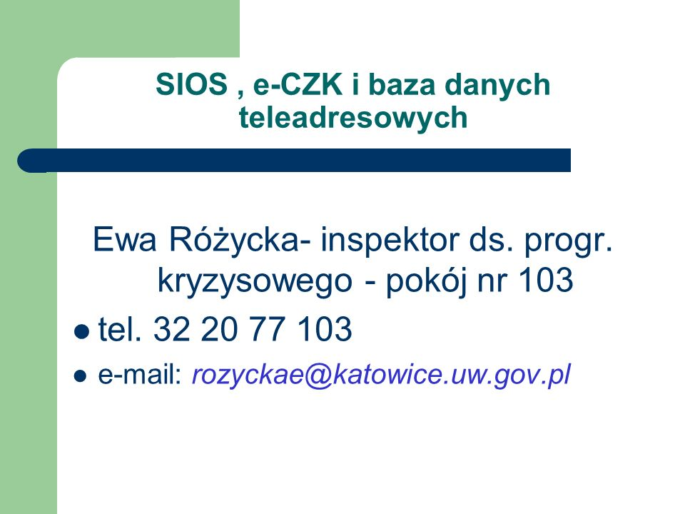 SIOS , e-CZK i baza danych teleadresowych