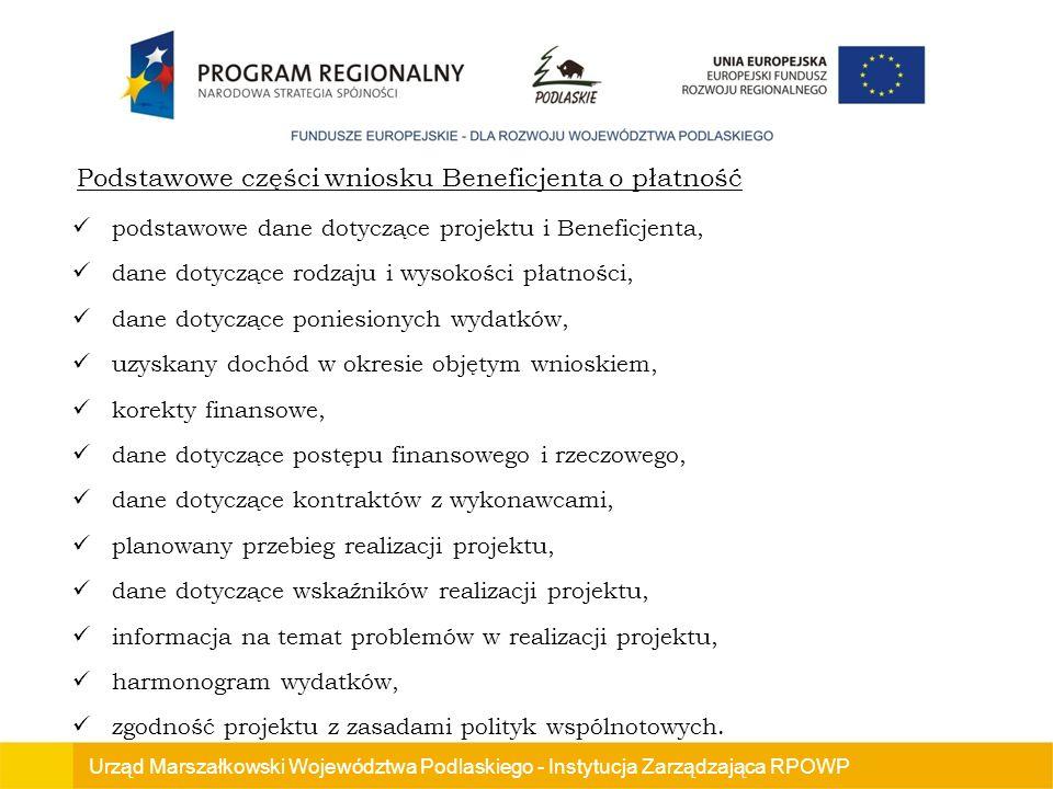 Podstawowe części wniosku Beneficjenta o płatność