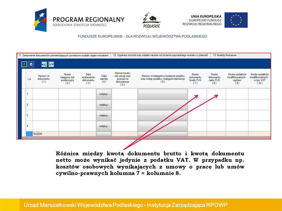 Różnica między kwotą dokumentu brutto i kwotą dokumentu netto może wynikać jedynie z podatku VAT. W przypadku np. kosztów osobowych wynikających z umowy o pracę lub umów cywilno-prawnych kolumna 7 = kolumnie 8.