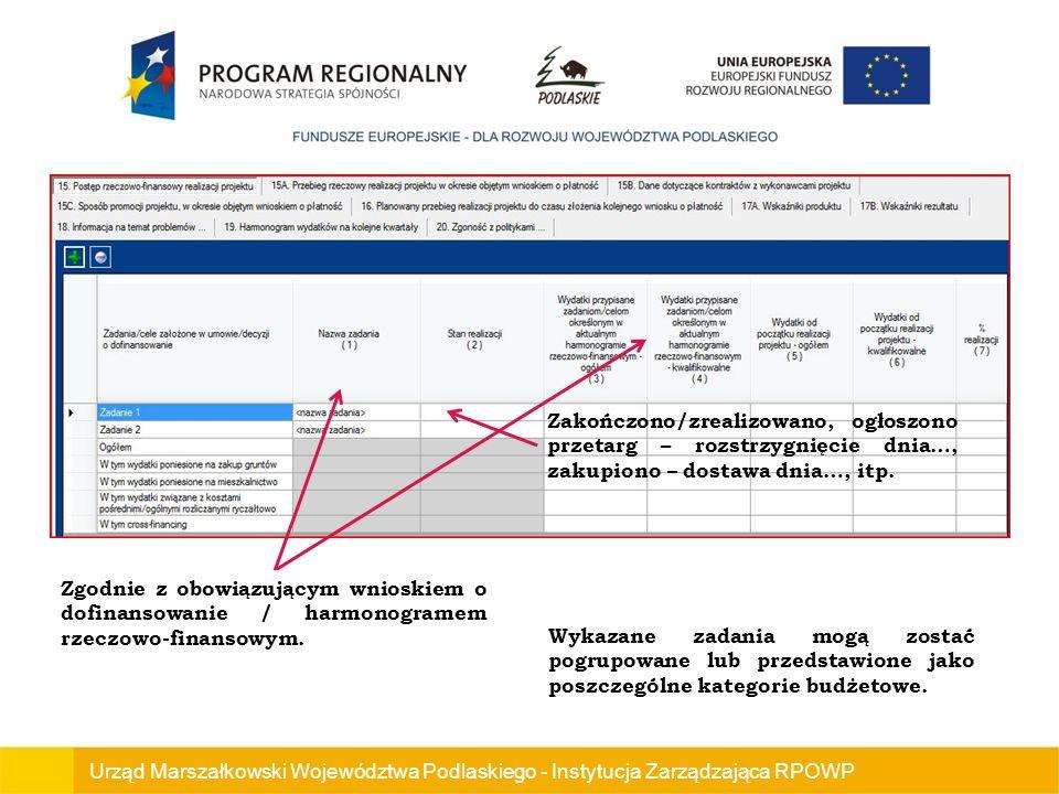 Zgodnie z obowiązującym wnioskiem o dofinansowanie / harmonogramem rzeczowo-finansowym.