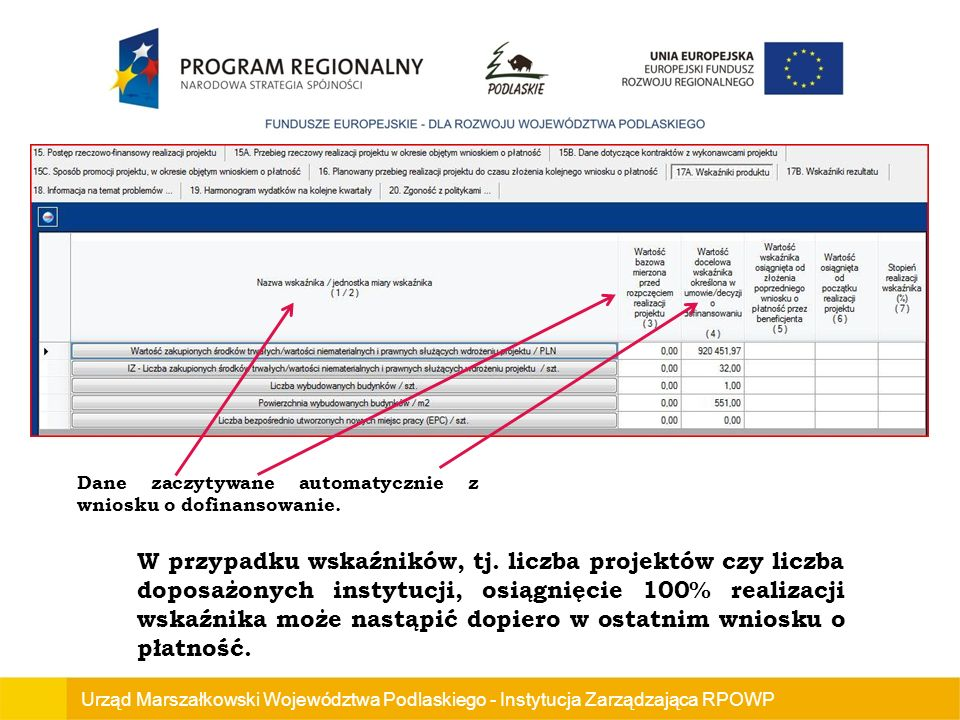 Dane zaczytywane automatycznie z wniosku o dofinansowanie.