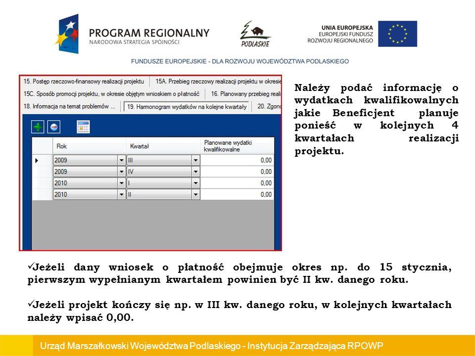 Należy podać informację o wydatkach kwalifikowalnych jakie Beneficjent planuje ponieść w kolejnych 4 kwartałach realizacji projektu.