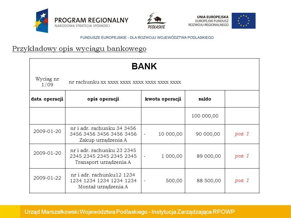 BANK Przykładowy opis wyciągu bankowego