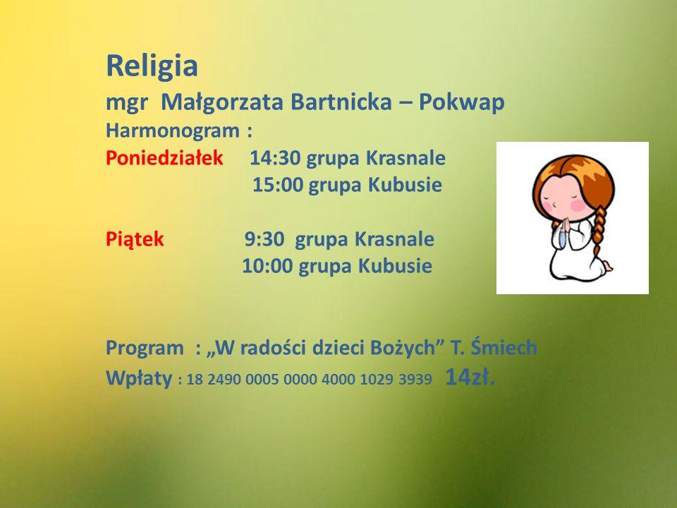 Religia mgr Małgorzata Bartnicka – Pokwap Harmonogram :