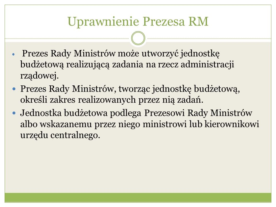 Uprawnienie Prezesa RM