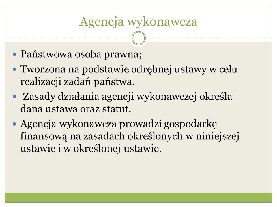 Agencja wykonawcza Państwowa osoba prawna;