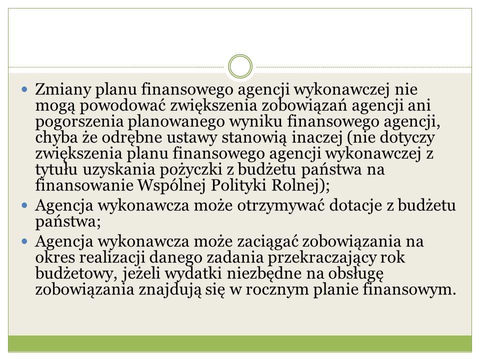 Zmiany planu finansowego agencji wykonawczej nie mogą powodować zwiększenia zobowiązań agencji ani pogorszenia planowanego wyniku finansowego agencji, chyba że odrębne ustawy stanowią inaczej (nie dotyczy zwiększenia planu finansowego agencji wykonawczej z tytułu uzyskania pożyczki z budżetu państwa na finansowanie Wspólnej Polityki Rolnej);