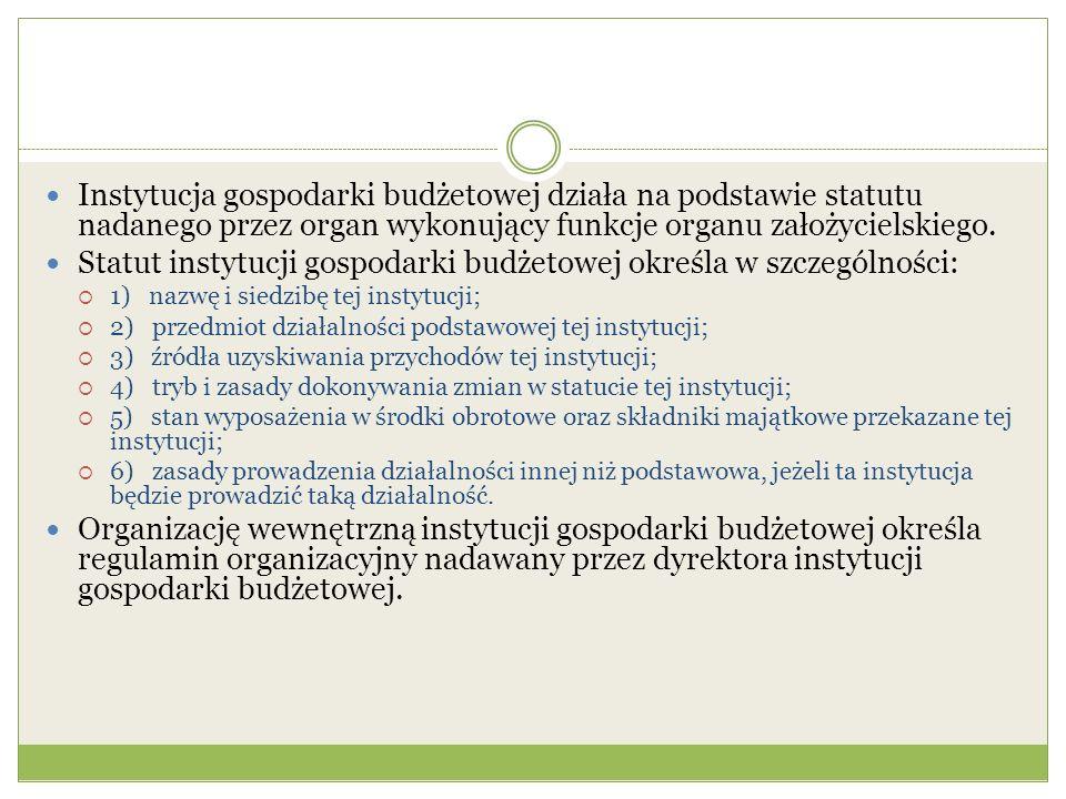 Statut instytucji gospodarki budżetowej określa w szczególności: