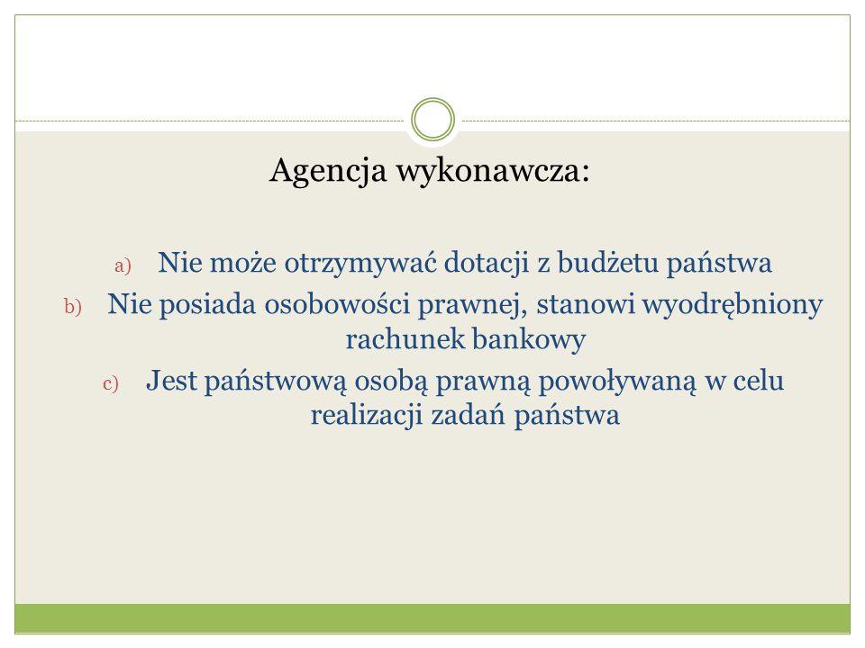 Agencja wykonawcza: Nie może otrzymywać dotacji z budżetu państwa