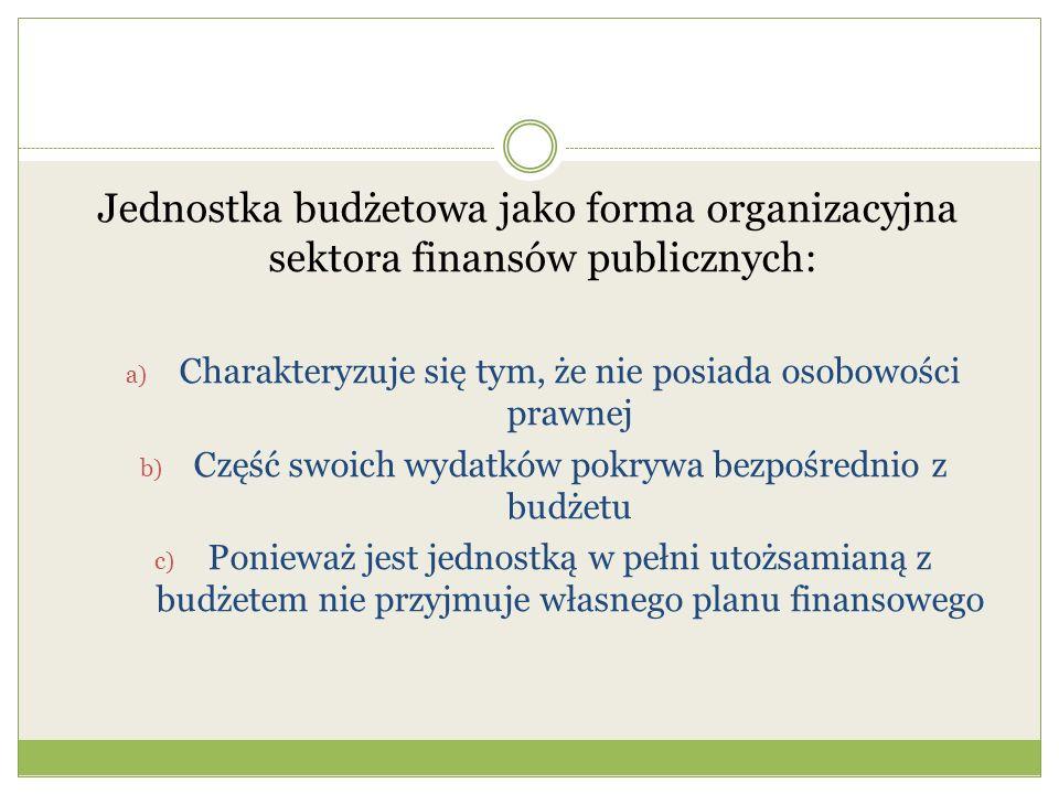 Jednostka budżetowa jako forma organizacyjna sektora finansów publicznych: